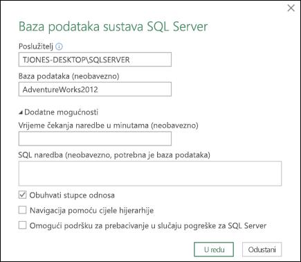 Dijaloški okvir veza baze podataka sustava SQL Server za Power Query
