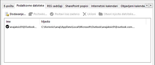Kartica Podatkovne datoteke u postavkama programa računa programa Outlook na kojoj se prikazuje mjesto na kojem se nalaze podatkovne datoteke programa Outlook za imenovanog korisnika
