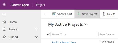Gumb novi projekt u aplikaciji Project Power