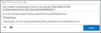 URL dokumenta zalijepljen u objavu sažetka sadržaja novosti
