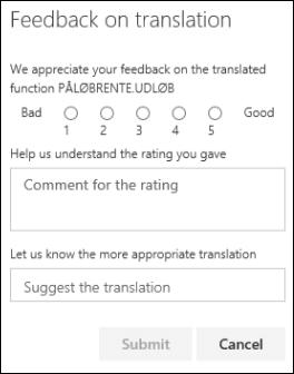 Okno Feedback (Povratne informacije) dodatka Functions Translator