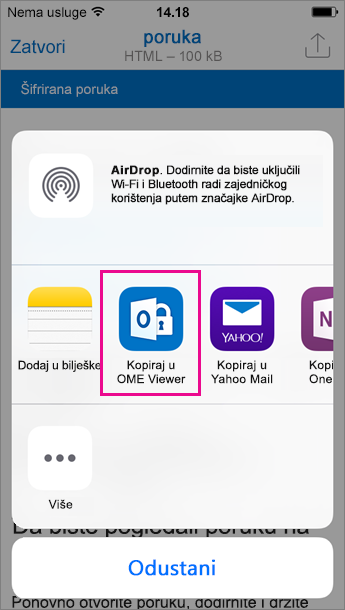 OME Viewer za Outlook za iOS 3