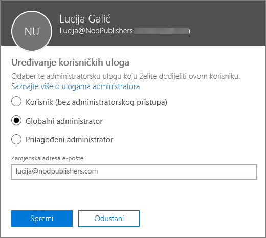 Okno Uređivanje korisničkih uloga u kojem možete promijeniti korisničke uloge te promijeniti alternativnu adresu e-pošte.