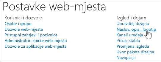 Postavke web-mjesta s naslov, opis, logotip odabrana