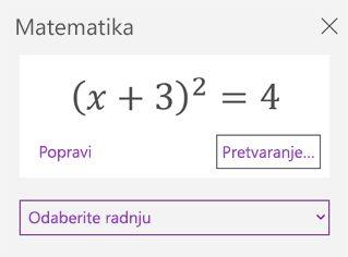 Matematičke jednadžbe u oknu zadatka matematičkih izraza