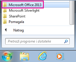 Grupa sustava Office 2013 u mogućnosti Svi programi u sustavu Windows 7