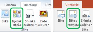 Pomoću kartice Umetanje na vrpci u sustavu Office možete umetnuti slike s interneta, koje su se dosad nazivale isječci crteža.