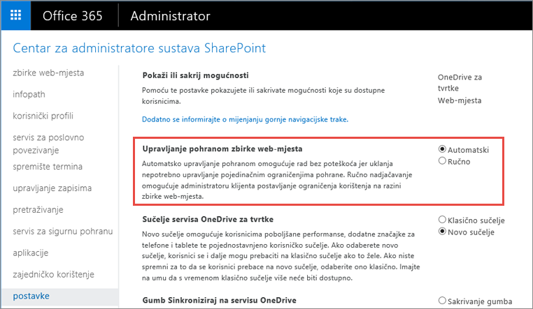 Office 365 SharePoint Online zaslon s postavkama s istaknuta je upravljanje zbirke web-mjesta