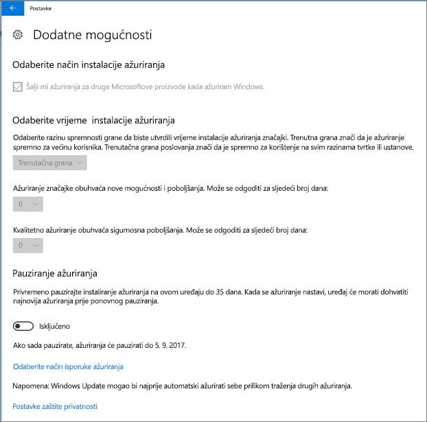 Windows Napredne mogućnosti ažuriranja su sve zasivljen.