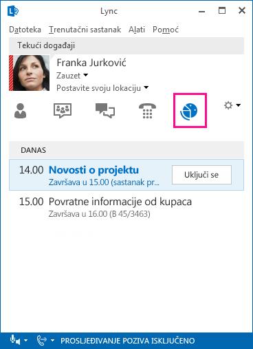 Snimka zaslona sa sučeljem sastanka programa Lync