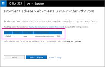 Dodajte ove DNS zapise da biste promijenili adresu web-mjesta