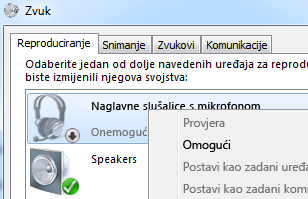 Snimka zaslona omogućivanja uređaja