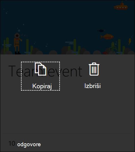 Klik na gumb Izbriši na postojećem obrascu