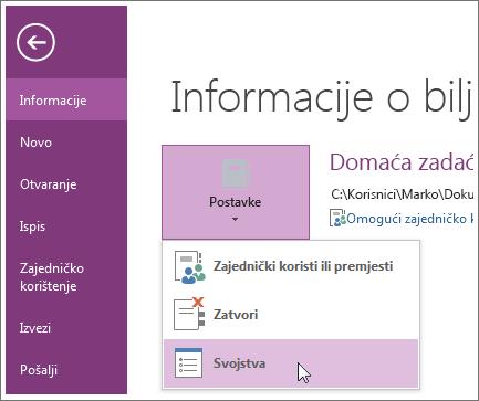 Nadogradnju na najnoviju verziju programa OneNote možete pokrenuti izravno iz izbornika Datoteka.
