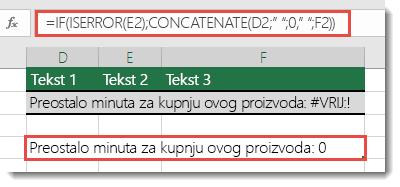 Funkcije IF i ISERROR koriste se kao zaobilazna rješenja za sekvencijalno dodavanje za niz s pogreškom #VALUE!