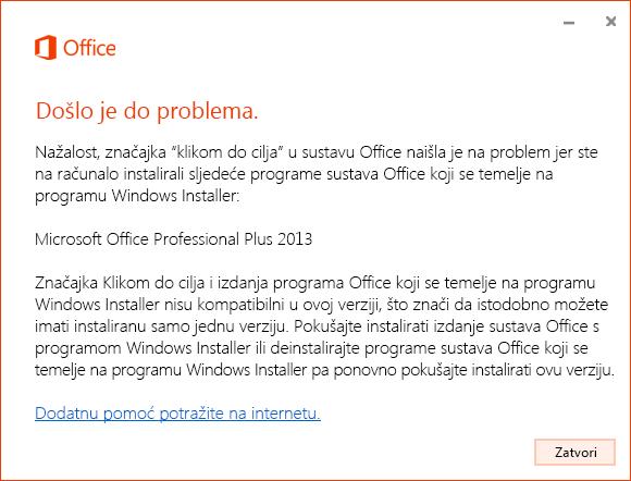 Pogreška prilikom instalacije klikom do cilja putem MSI instalacije