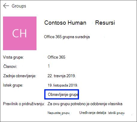 Obnavljanje grupe Office 365, produljenje datuma isteka