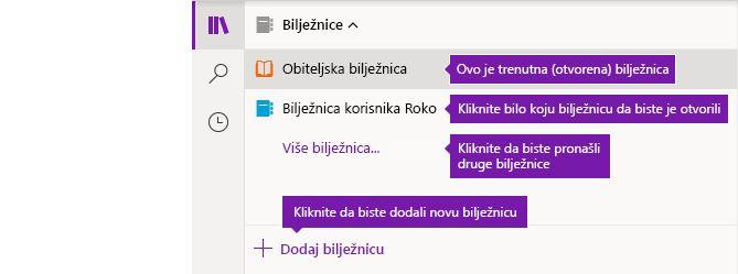 Popis Bilježnice u programu OneNote za Windows 10