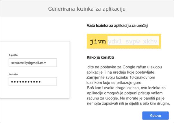 Vaša pristupna šifra od 16 znakova