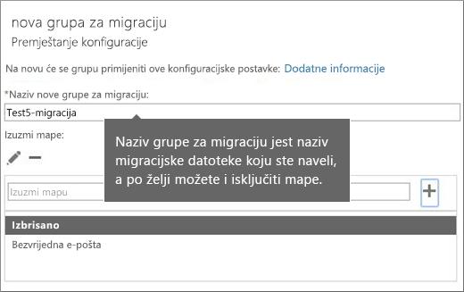 Premjestite dijaloški okvir za konfiguraciju