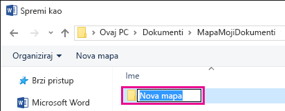 Dodijelite naziv novoj mapi.