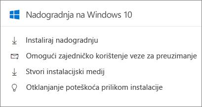 Kartica nadogradnje za Windows 10 u centru za administratore.