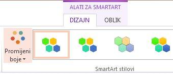 gumb promijeni boje u grupi smartart stilovi