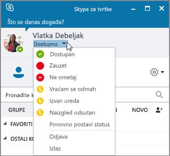 Snimka zaslona na kojoj se prikazuje prozor Skypea za tvrtke s otvorenim izbornikom Status.