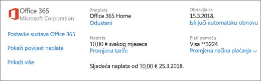 Prikaz pojedinosti o pretplati za pretplatu na Office 365 Home na stranici Servisi i pretplate.