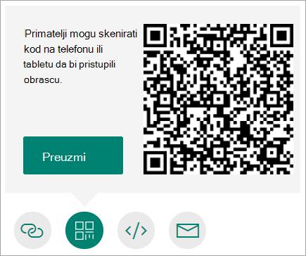 Slanje QR koda na mobitel koji primatelji mogu skenirati mobitelom ili tabletom