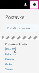 Odabir postavki sustava Office 365