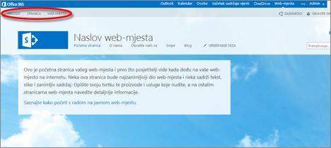 Zadani raspored stranice za javno web-mjesto sustava Office 365