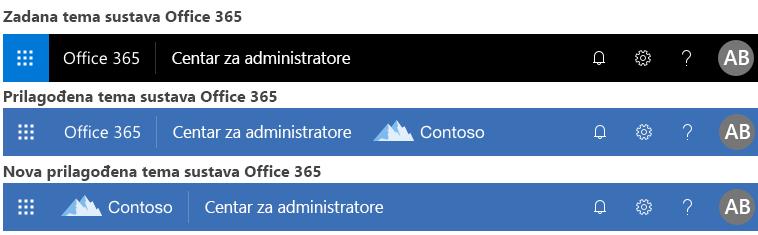 Primjer promjene teme u sustavu Office 365
