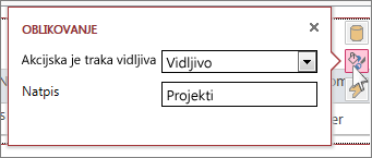 Dijaloški okvir Oblikovanje u prikazu web-podatkovne tablice