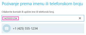Telefonski broj za pozivanje iz sastanka u Skypeu za tvrtke