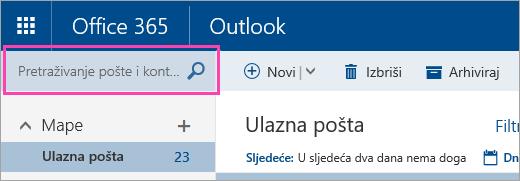 Snimka zaslona okvira Pretraživanje pošte i osoba