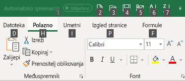 Savjeti za tipke na vrpci u Excelu
