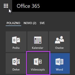 Ikona servisa Office 365 Video u pokretaču aplikacija
