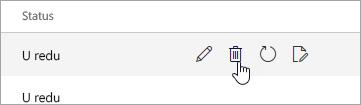 Snimka zaslona gumba Izbriši na stranici mobilni uređaji