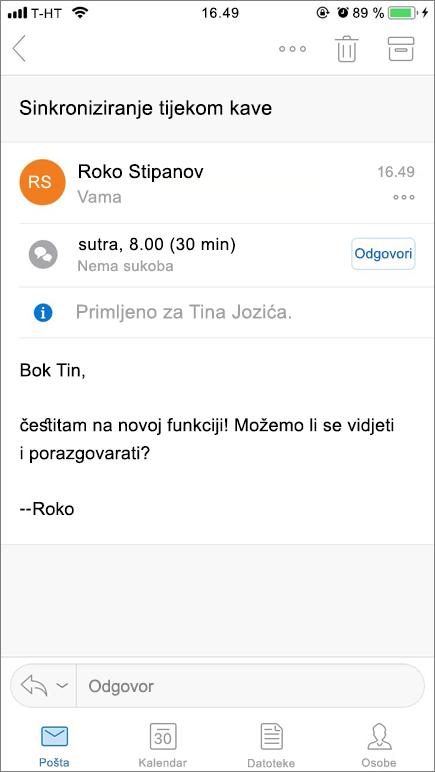 Snimka zaslona prikazuje zaslona mobilnog uređaja sa stavkom pošta.