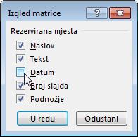 Otkrivanje ili sakrivanje rezerviranih mjesta na matrici slajdova