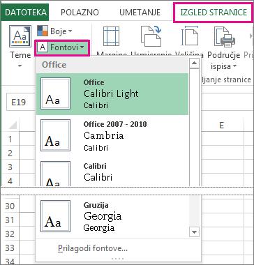 Galerija fontova na kartici Izgled stranice.