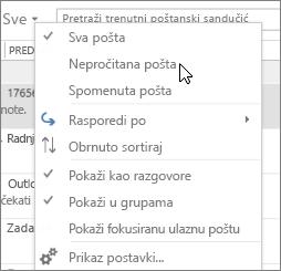 Snimka zaslona prikazuje mogućnost Nepročitana pošta odabrali sve padajući izbornik na vrpci ulazne pošte.
