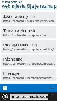 Web-mjesta povećane razine u sustavu SharePoint Online na mobilnom uređaju
