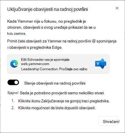 Snimka zaslona s prikazom dijaloškog okvira za omogućivanje obavijesti na radnoj površini