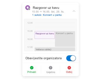 Pozivnica za sastanak s minikalendarom pri vrhu, dijelom za komentare u sredini i gumbima za odgovor pri dnu