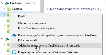 """Snimka zaslona na kojoj se prikazuje kontekstni izbornik u eksploreru za datoteke na kojem se odabrana mogućnost """"Odabir mapa servisa OneDrive za sinkronizaciju""""."""