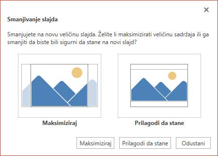 Odaberite Maksimiziraj da biste u potpunosti iskoristili dostupan prostor, a možete i odabrati Prilagodi da stane da bi biste bili sigurni da će cjelokupni sadržaj stati na okomitu stranicu.