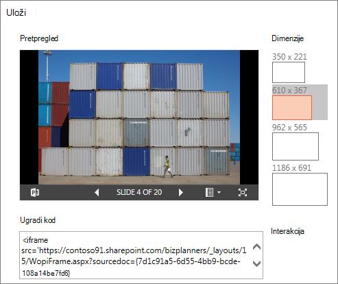 Promjena ugrađene dimenzija veličine programa PowerPoint