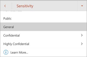Snimka zaslona naljepnica s osjetljivosti u sustavu Office za Android